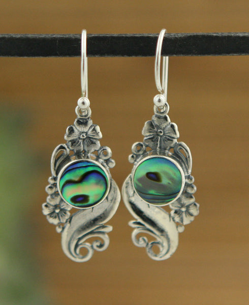 Indonesian Art Nouveau Abalone Shell Earrings