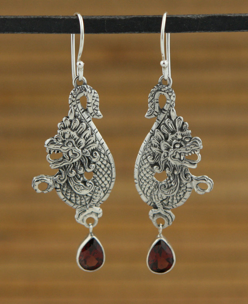 Sterling Silver Lucky Dragon Earrings with Garnet