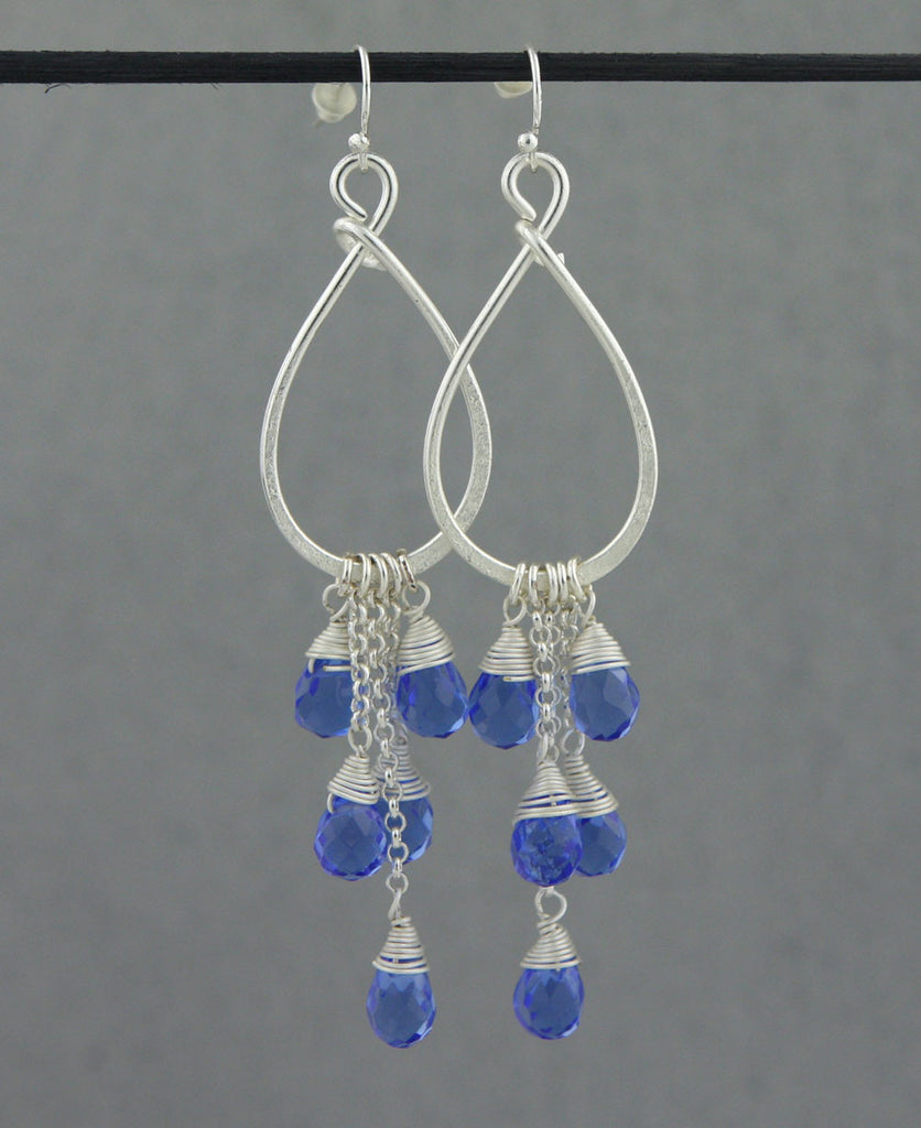 Colorful Cascade Czech Crystal Bead Earrings