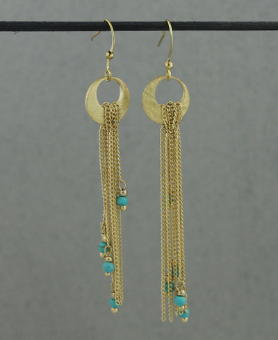 Golden Moon Thai Beaded Crescent Earrings