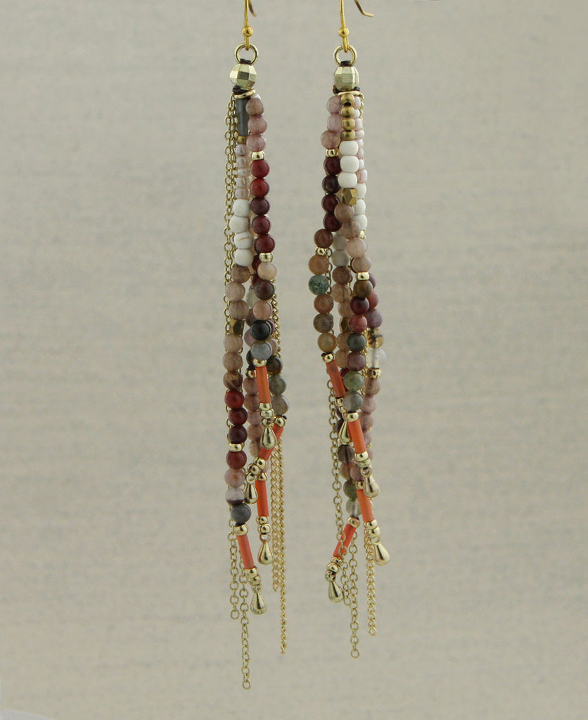 Marvelous Mauve Agate Bead Tassel Earrings