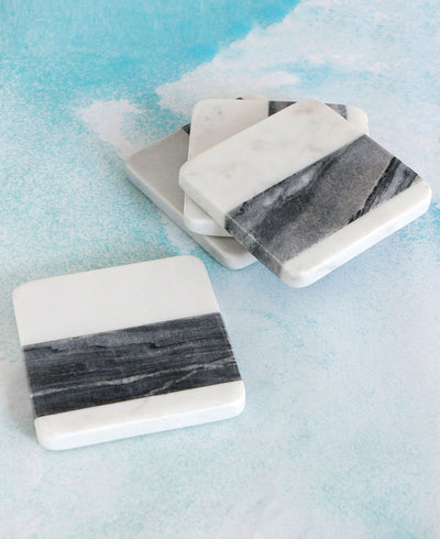 Set of 4 Striped Marble Coasters, India