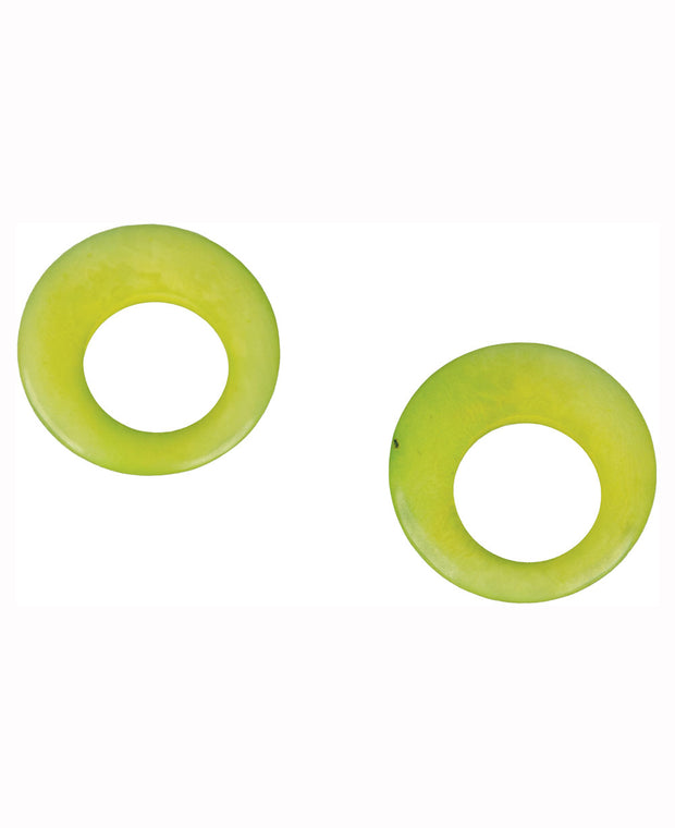 Tagua Circle Earrings, Lime Green