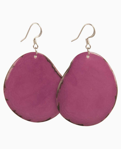 Tagua Chip Earrings, Berry