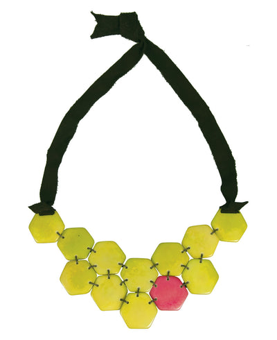 Honeycomb Tagua Tie Necklace, Lime