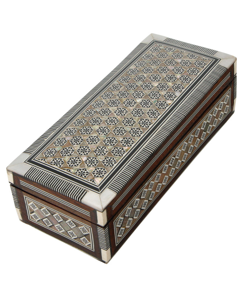 Geometric Mother of Pearl Box