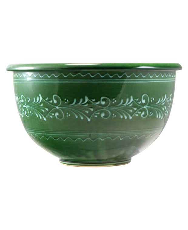 Hungarian Hand Painted Green Nesting Bowls Set Of 3