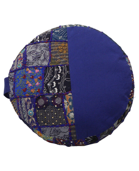Vintage Patchwork Floor Cushion in Blue, India