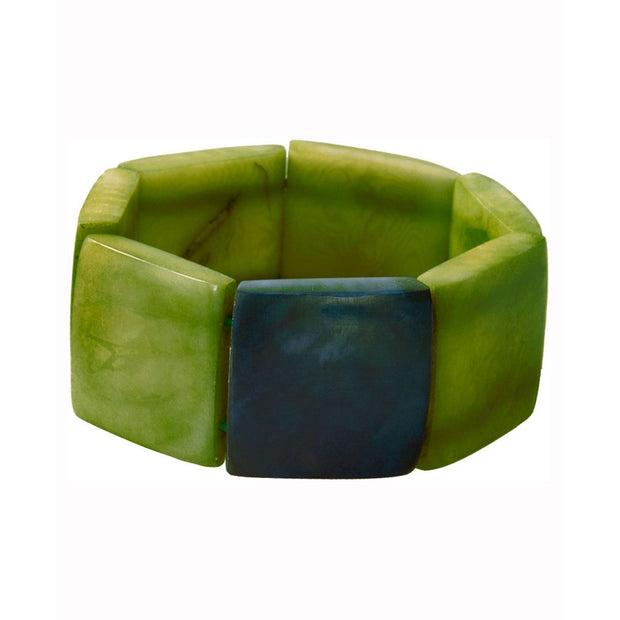 Tagua Accented Stretch Bracelet, Leaf Green and Blue