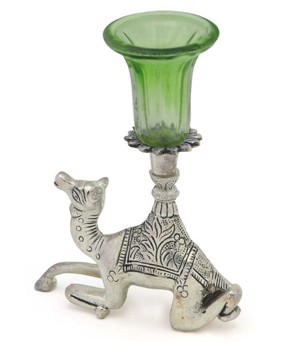 Indian Home Decor: Camel Taper Candle Holder, Green