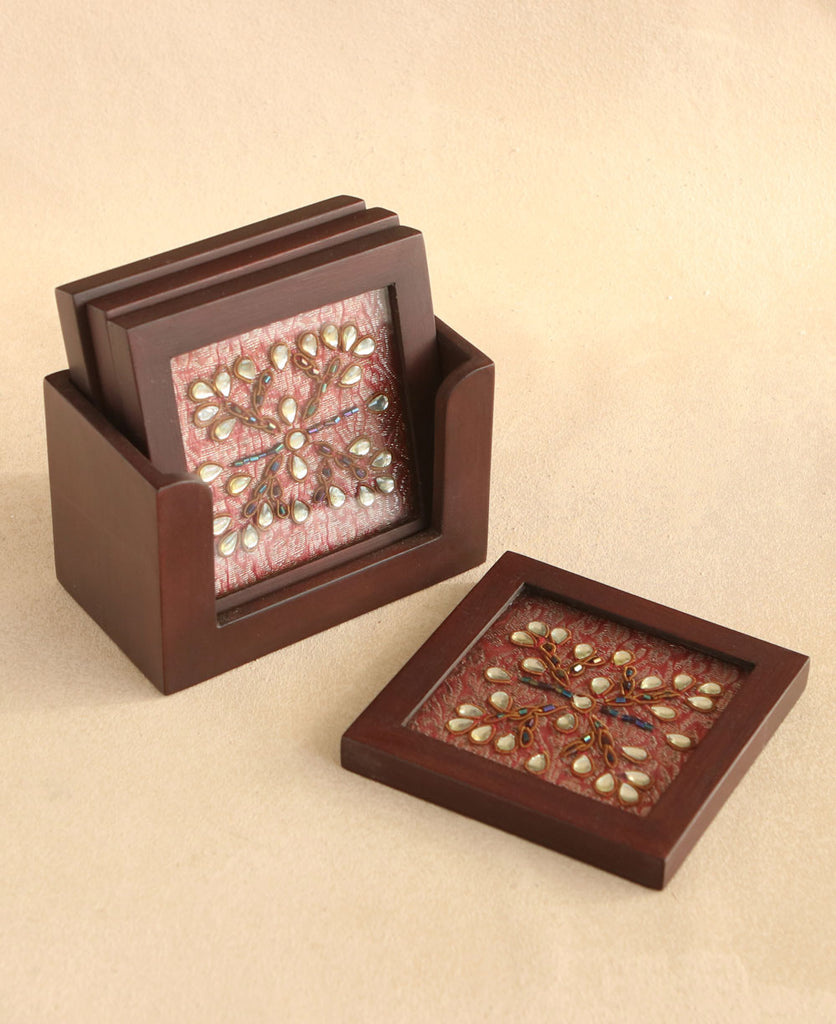 Set of 4 Wood Coaster Set with Intricate Hand Work