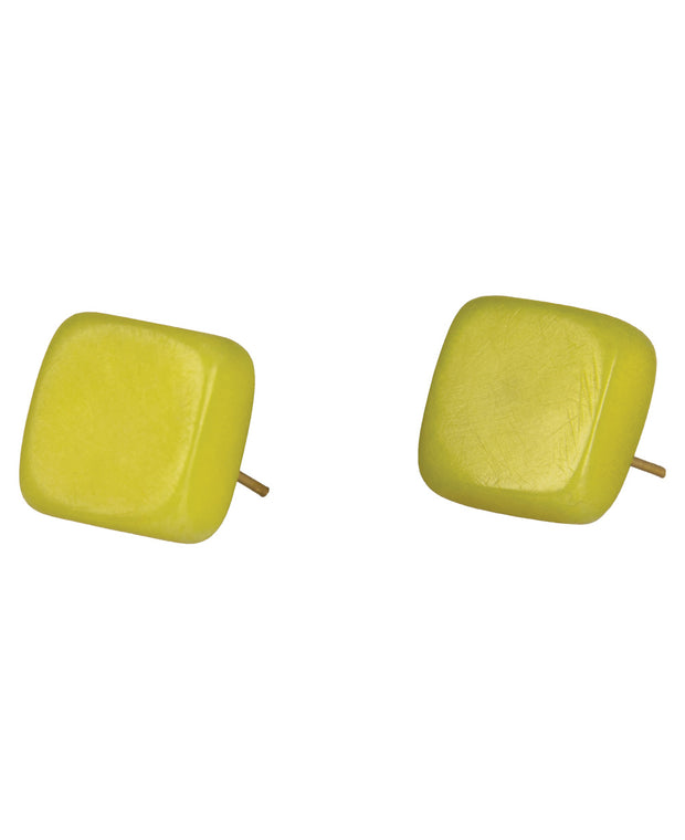 Classic Square Stud Tagua Earring, Lime
