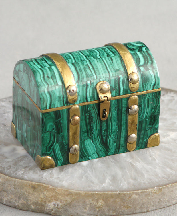 Malachite Gemstone Treasure Chest