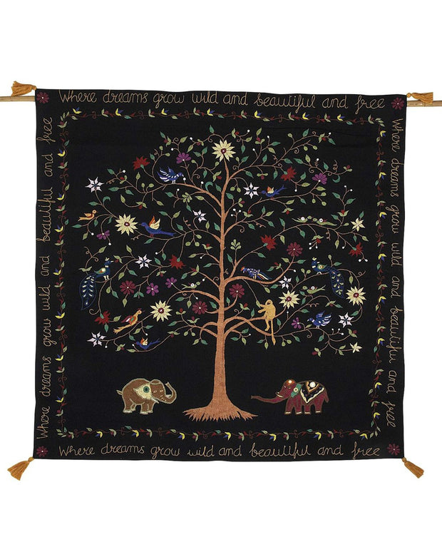 Embroidered Tree of Life Hanging