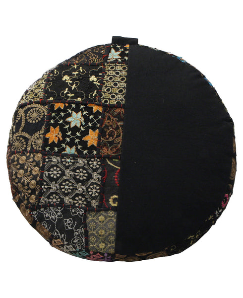 Vintage Patchwork Floor Cushion in Black, India