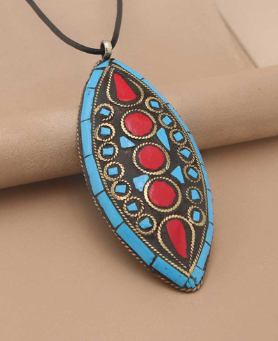 Almond Inlay Pendant Necklace