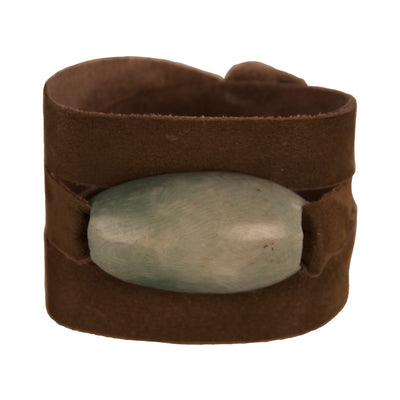 Suede Leather Wrap Bracelet with Tagua Accent, Quarry