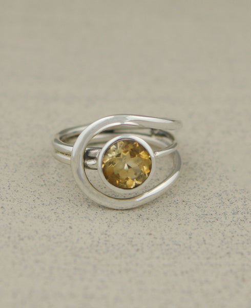 Citrine Gemstone Loop Ring, India