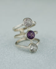Triple Quartz Gemstone Ring