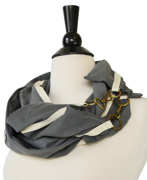 Grey Buckle Scarf