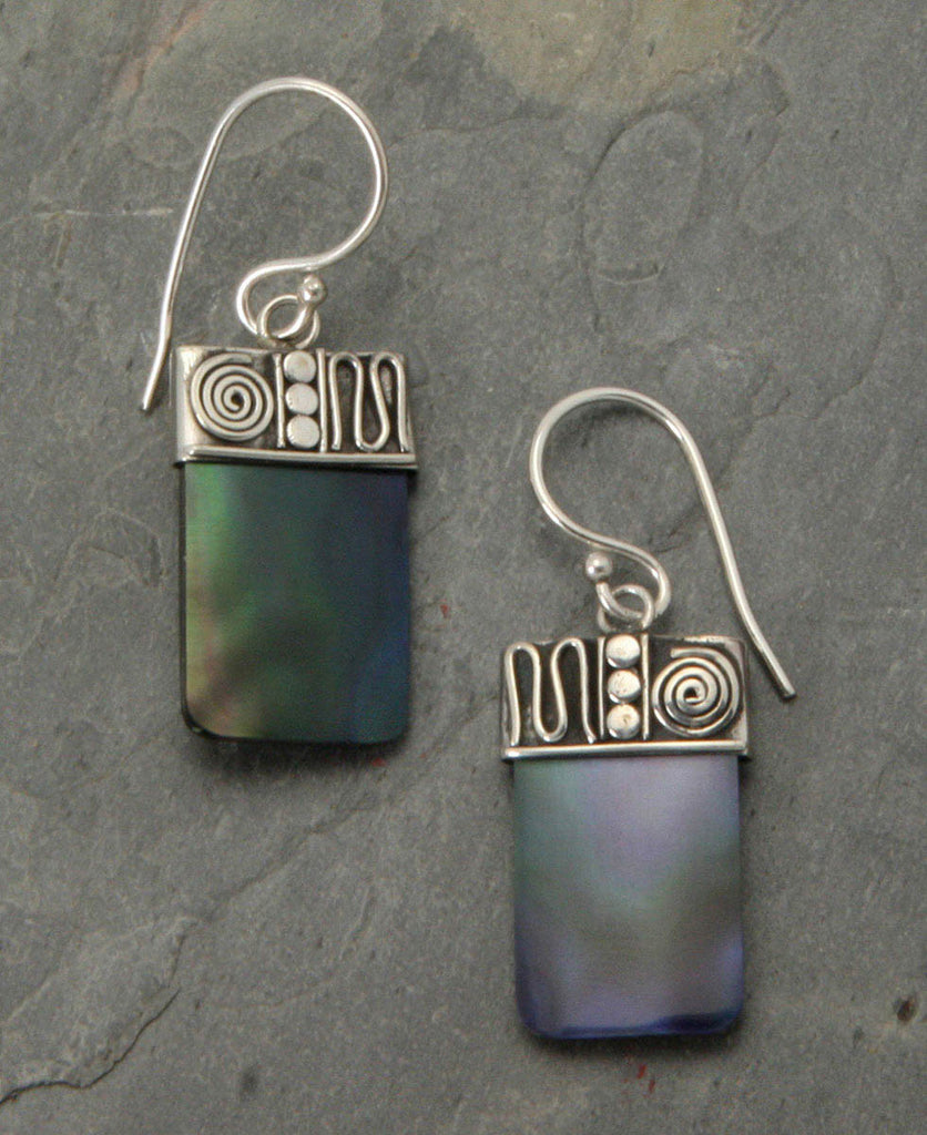 Evening Dusk Abalone Shell and Sterling Silver Earrings
