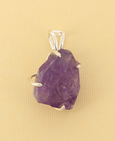 Raw Cut Amethyst Pendant