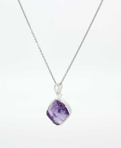 Raw Cut Amethyst Necklace