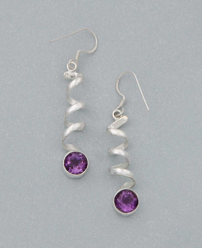 Sterling Silver Gemstone Spiral Earrings