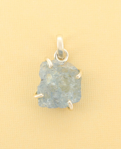 Raw Cut Aquamarine Pendant