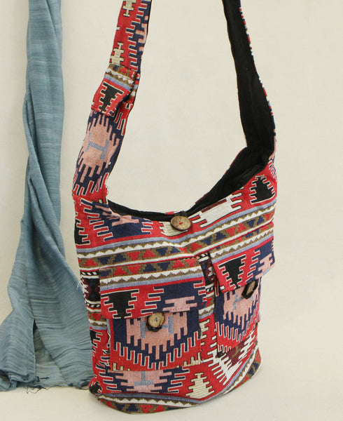 Woven Aztec Bag with Double Pockets, India