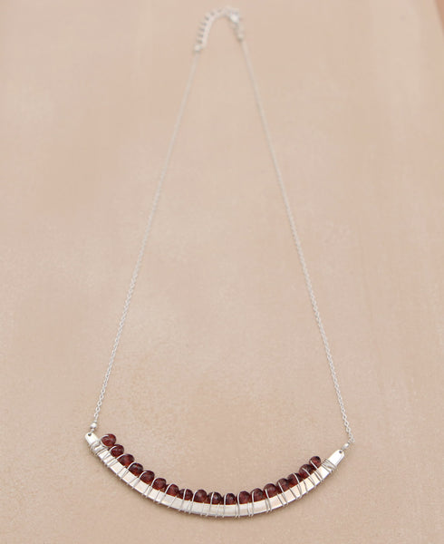 Garnet Gemstone Curved Bar Necklace