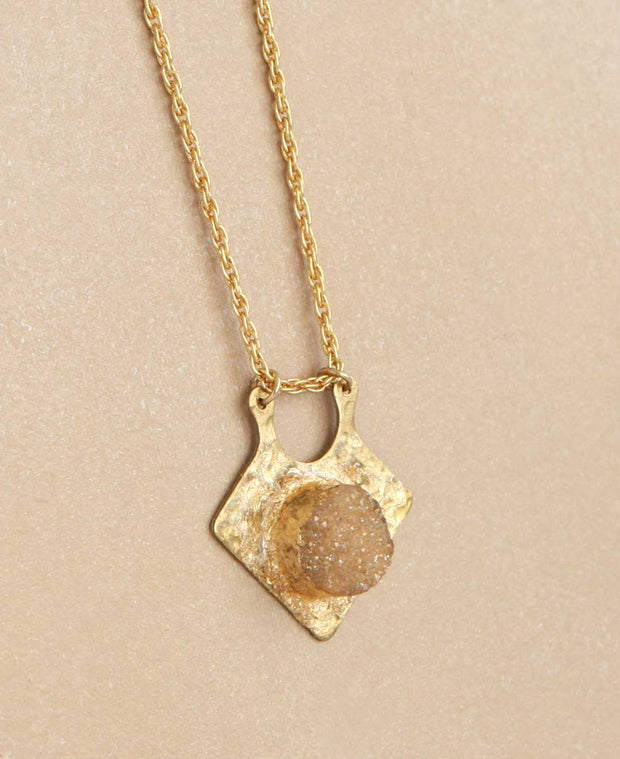 Druzy and Brass Arrowhead Pendant Necklace