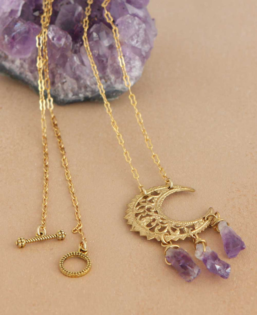 Mystic Moon Brass and Gemstone Necklace, USA