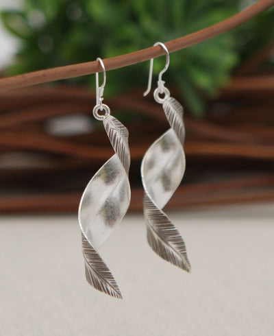 Spiraling Leaf Earrings