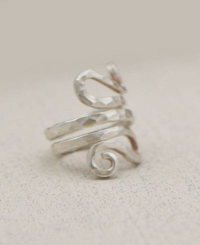 Hill Tribe Silver Textured Tendril Ring