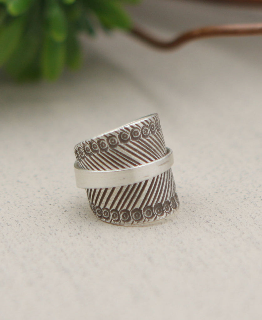 Hill Tribe Silver Banded Chevron Ring, Laos