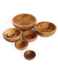 Set of 6 Olive Wood Nesting Bowls, Handmade in Tunisia