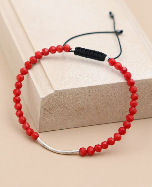 Red Coral and Silver Bar Bracelet