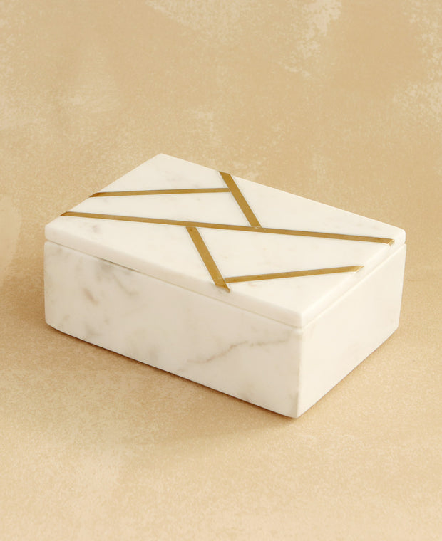 Geometric Brass Jewelry Box