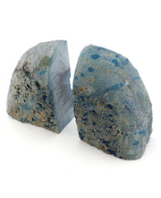 Blue Agate Druzy bookends