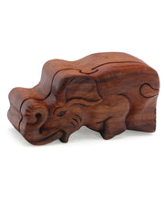 Trumpeting Elephant Wood Puzzle Box