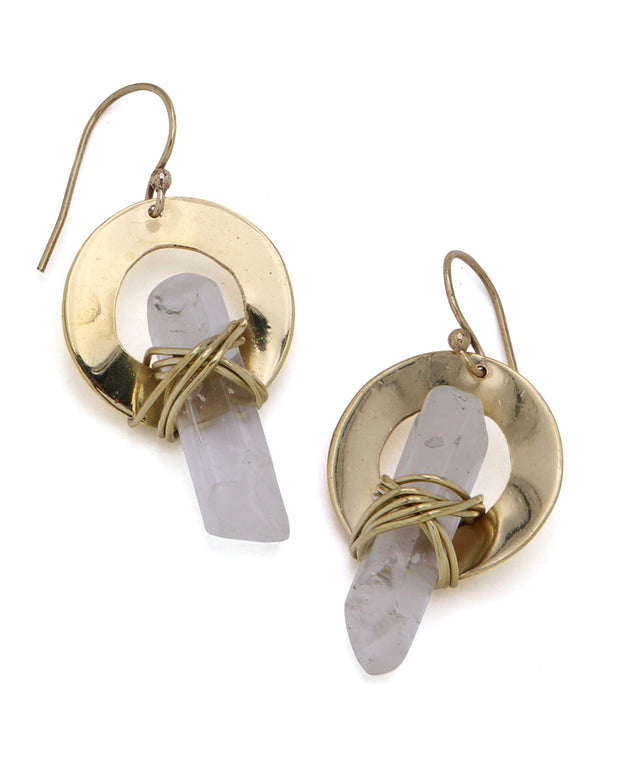 Crystal Point and Brass Earrings