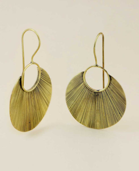 Brass Etched Petal Earrings, India