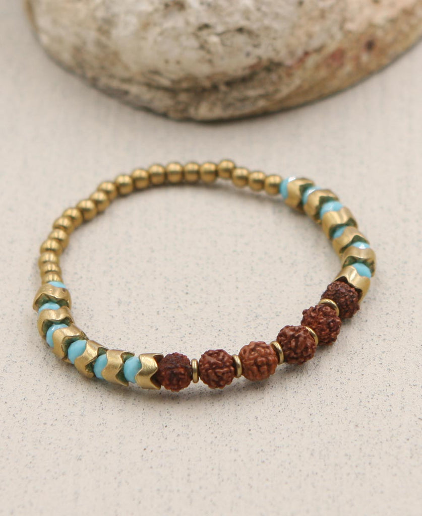 Rudraksha Seed and Brass Bead Bracelet, India