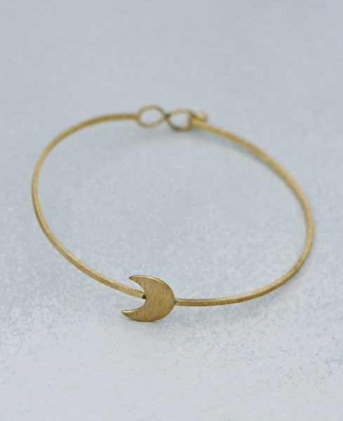 Brushed Brass Moon Bracelet, India
