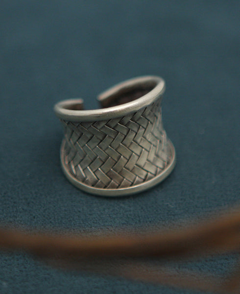 Hill Tribe Silver Basketweave Ring