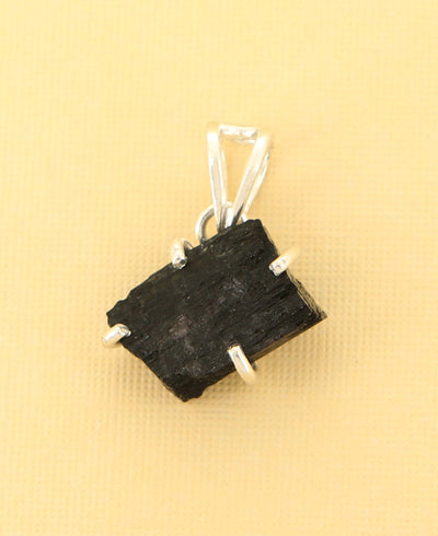 Raw Cut Black Tourmaline Pendant