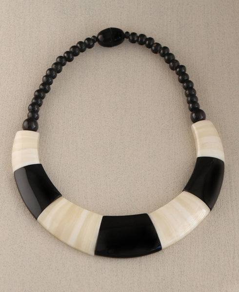 Black and White Colorblock Necklace, Nepal