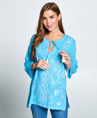 Embroidered Aqua Blue Tunic Kurti Blouse