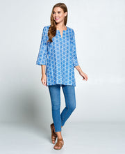 Blue Cotton Tunic Top